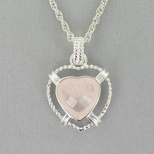 Rose Quartz Heart Pendant Necklace 8BD1DG2805
