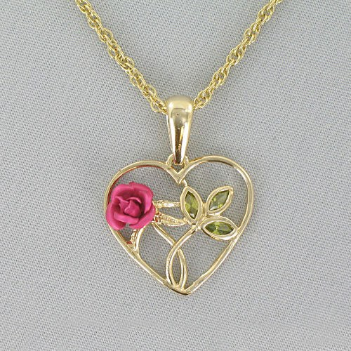 Goldtone Heart with Pink Rose Necklace 8BD1DZ1932