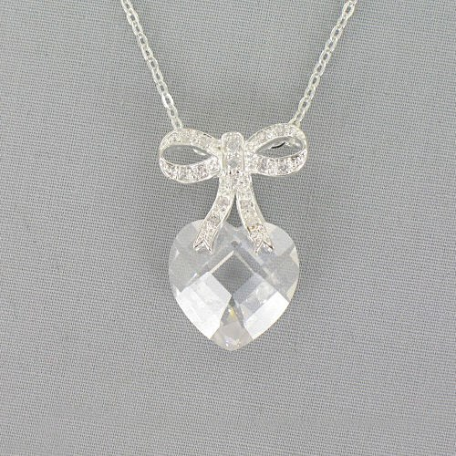 Heart and Bow Cubic Zirconia Necklace 8BD1DZ2312