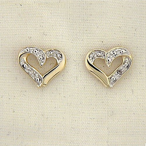 Diamond Accent Two Tone Heart Earrings 8BD1EG1486