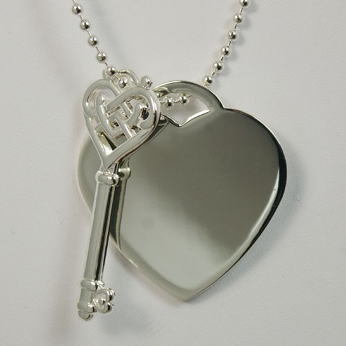 Engraved Key To My Heart Silvertone Pendant Necklace 8BD2DG1200
