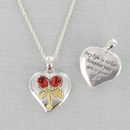 Red Rose Silvertone Heart Necklace 8BD2DA1158