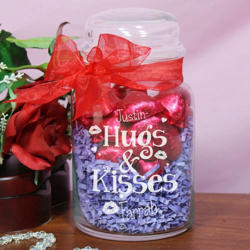 Engraved Hugs and Kisses Candy Jar 8B252564C