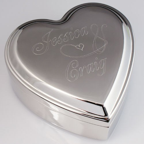 Engraved Couples Silver Heart Jewelry Box 8B8549790
