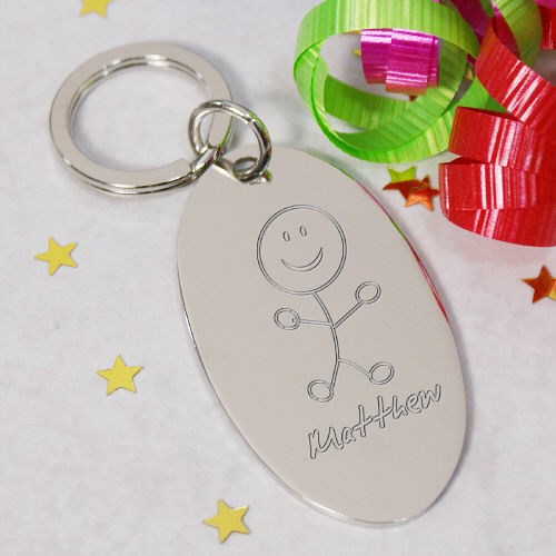 Engraved Stick Figure Silver Key Chain 8B8526390