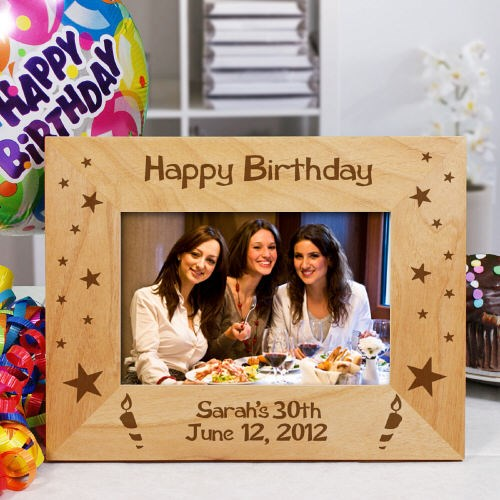 Engraved Happy Birthday Wooden Picture Frame 8B930401