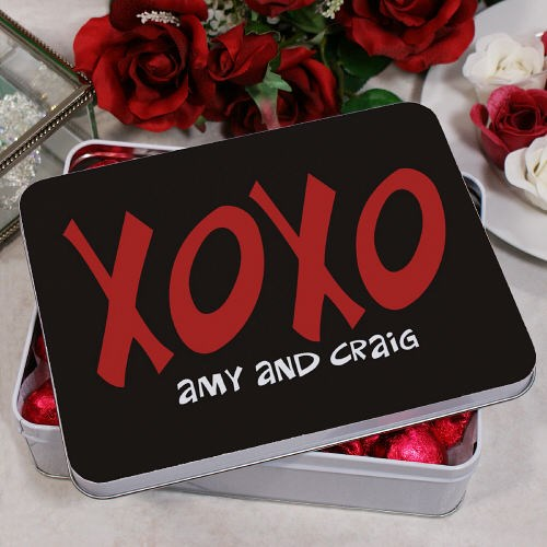 Personalized Hugs and Kisses Candy Hearts Tin 8BU52722