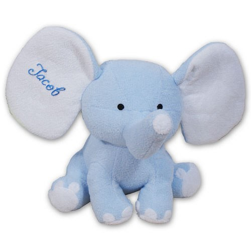 Embroidered Blue Plush Elephant 8BE458353LB