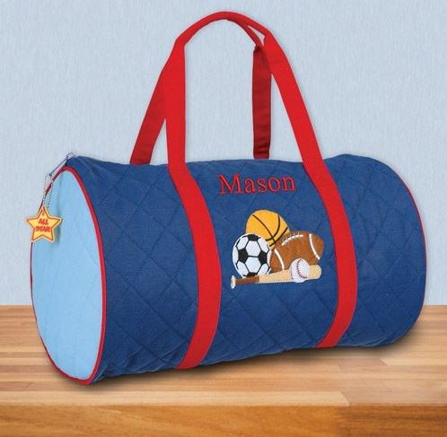 Embroidered Quilted Sports Duffel Bag E12153328